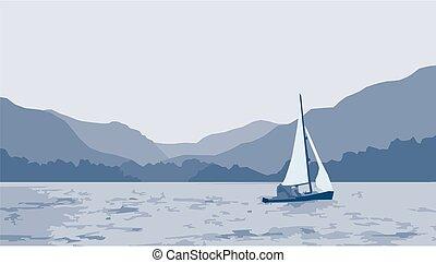 żaglówka, jezioro, scena