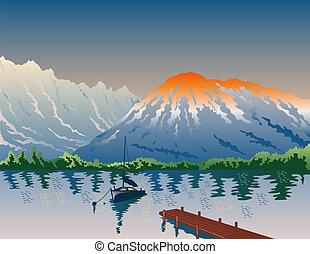 żaglówka, na, jezioro, z, góra
