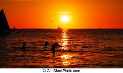 żaglówki, zachód słońca, czas