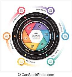 żaluzja, handlowy, diagram, formułować, infographic, okrągły