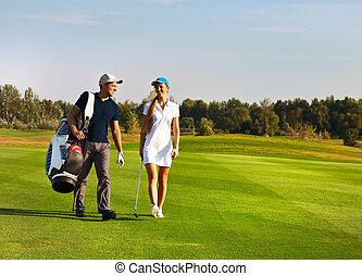 żartobliwy, para, golf, młody, interpretacja