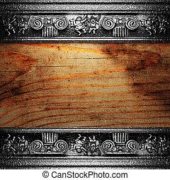 żelazo, ozdoba, na, drewno