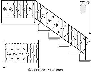 żelazo, projektować, fasonowany, schodowy reling