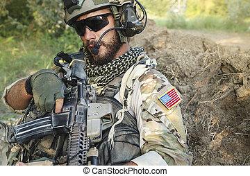 żołnierz, amerykanka, jego, karabin
