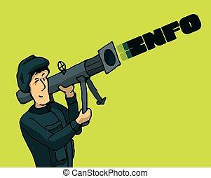 żołnierz, atakując, i, używając, moc, informacja, jak, niejaki, broń
