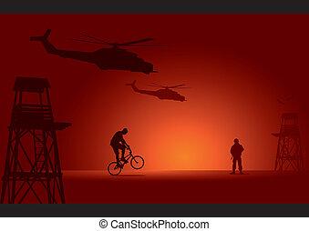 żołnierz, biker, strażnica