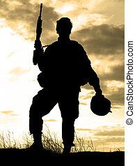 żołnierz, na