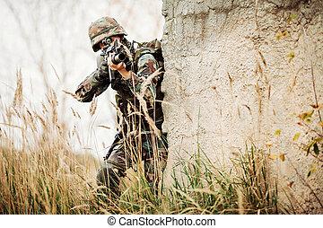 żołnierz, napaść, wojskowy, polowanie, karabin