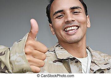 żołnierz, przystojny, samiec, do góry, kciuki