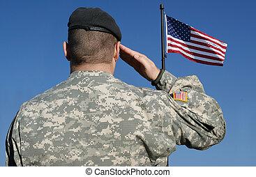 żołnierz, salutes, bandera