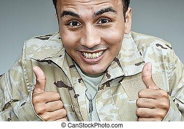 żołnierz, samiec, do góry, zjednał, kciuki