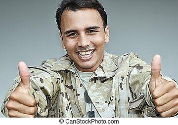 żołnierz, samiec, kciuki do góry, armia