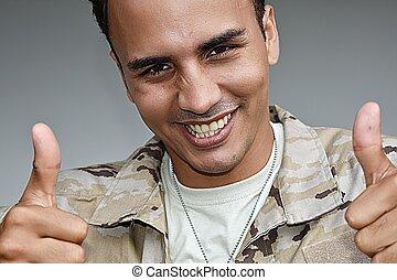 żołnierz, samiec, kciuki do góry