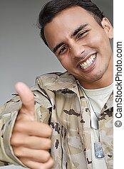 żołnierz, samiec, kciuki, mniejszość, do góry