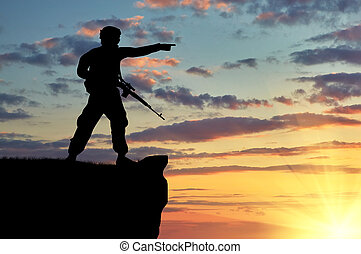 żołnierz, sylwetka, armata
