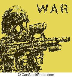 żołnierz, w, gazowa maska, cel, z, napaść, rifle., wektor, illustration.