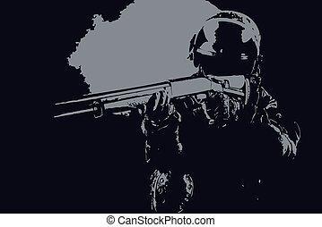 żołnierz, wektor, spekulacja, ilustracja, ops