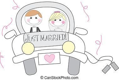 żonaty, rysunek, właśnie