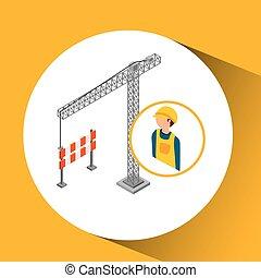 żuraw, budowlaniec, bariera, pod
