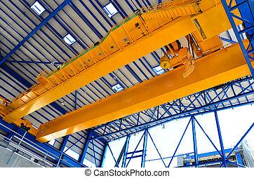 żuraw, na górze, fabryka