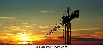 żuraw, zbudowanie, zachód słońca