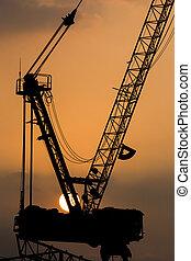 żurawie, zachód słońca