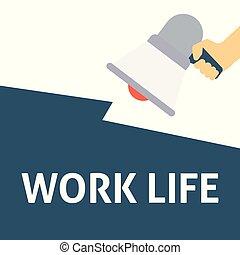 życie, announcement., praca, ręka, mowa, dzierżawa, megafon, bańka