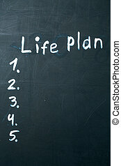 życie, blackboard., kreda, pisemny, plan, wyrażenie