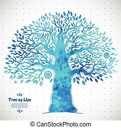 życie, drzewo, akwarela, wektor, etniczny, unikalny