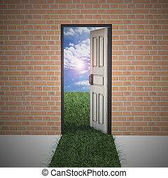 życie, drzwi, ściana, nowy, cegła, otwarty