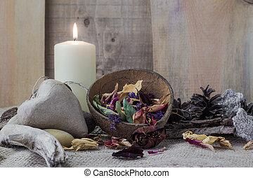 życie, elementy, kamień, zdrój, świeca, wciąż