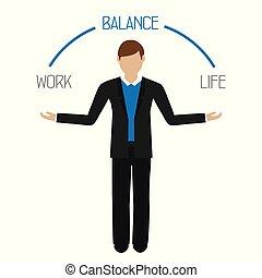 życie, handlowy, praca, litera, waga, człowiek