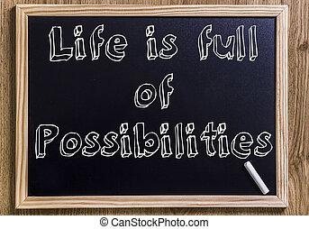 życie, jest, pełny, od, możliwości, -, nowy, chalkboard, z, 3d, konturowany, tekst