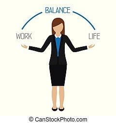 życie, kobieta handlowa, praca, litera, waga