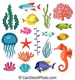 życie, komplet, ikony, animals., obiekty, morze, marynarka