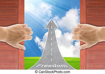 życie, lifestyle., drzwi, otwarcie, drewniany, wolność, dwa, pojęcie, stary, siła robocza, nowy, world.
