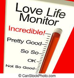 życie, miłość, związek, niewiarygodny, pokaz, wielki, metr