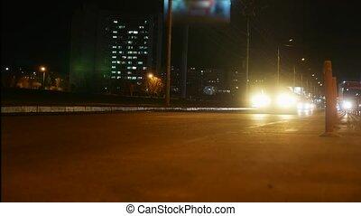 życie miasta, pojęcie, styl życia, lapse., miejski, wóz, czas, lekki, ruch, ulica, handel, noc, ślady