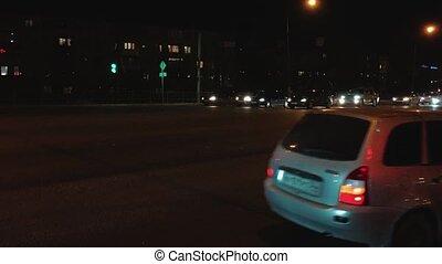 życie miasta, pojęcie, styl życia, lapse., noc, miejskie światło, czas, zamazany ruch, ulica, handel, wóz, ślady