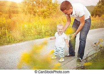 życie, ojciec, razem, syn, zewnątrz, cieszący się