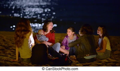 życie, plaża, noc