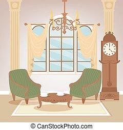 życie pokój, furniture., klasyk, room., rocznik wina, ilustracja, wektor, chandelier., interior., wewnętrzny, dom, style., retro