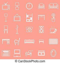 życie pokój, ikony, tło, pomarańcza, kreska