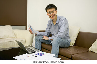 życie pokój, laptop, biznesmen, asian, noc, używając