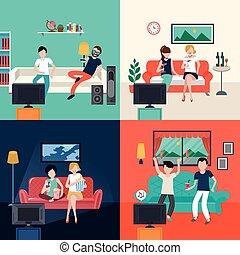 życie pokój, oglądając tv, program, przyjaciele