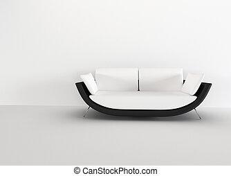 życie pokój, rendering., nowoczesny, -, interior., jasny, sofa, minimalizm, opróżniać