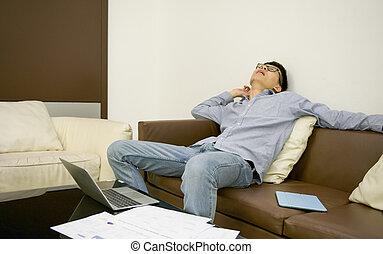 życie pokój, sofa, spanie, asian, noc, biznesmen