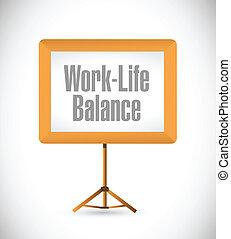 życie, praca, ilustracja, deska, waga, prezentacja