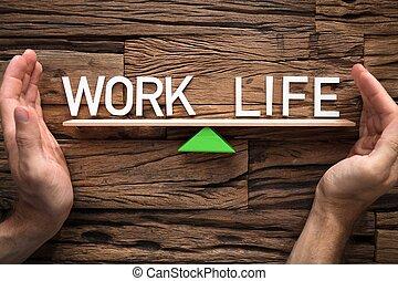 życie, praca, przykrycie, siła robocza, huśtać się, między, waga