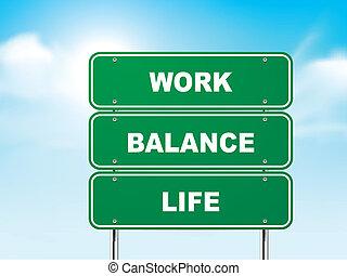 życie, praca, znak, waga, droga, 3d
